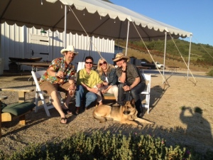 Jack, KB, Dawn, ME(!) and wonderful Ginger the German Shep .. at dusk ... at Galante Vineyards