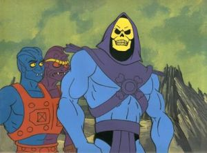 Skeletor ... Blinded by the Mighty Meemies of She-Ra or just a rip-off of Ghost Rider in Dungeons & Dragons drag?