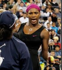"""Look, I know we're in the middle of a championship match and all that, but have you ever taken the time to ponder Jehovah's plan for your eternal soul? I didn't think so. I have some pamphlets in my racquet bag. Talk to me during the changeover, honey, or I will shove this ball down your $#%^ing throat. Capiche?"""