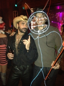 Yours Truly, Halloween 2014, The Clift Hotel Party, San Francisco. (Don't know who the electrified cat was, but few could keep their paws off me that night. Must have been the hat ...)